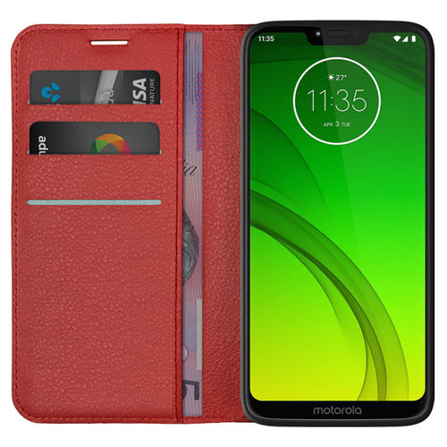 Leather Wallet Case & Card Pouch for Motorola Moto G7 Power - Red
